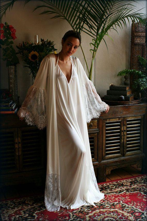 Satin Bridal Robe Lace Trimmed Angel Sleeve Weddin