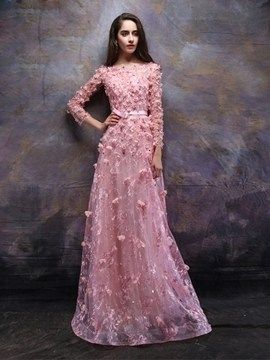 Cute A-Line Long Sleeves Bateau Lace Evening Dress With Appliques And Beading #EveningDresses #Cute #ALine #Long #Sleeves #Bateau #Lace #Evening #Dress #With #Appliques #Beading