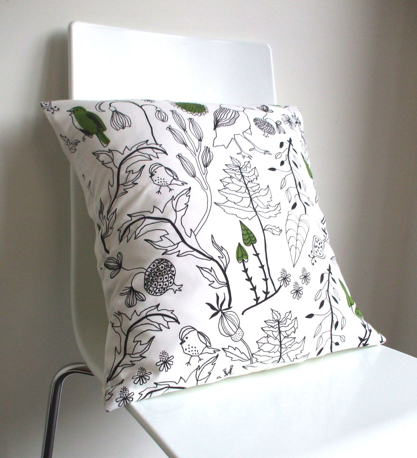 Green and white bird u leaf print cotton cushion coverpillow cover