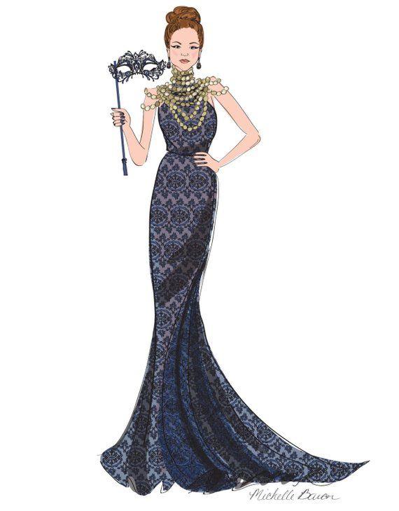 Fashion Illustration, Masquerade Ball, Ball Gown, Elegant ...