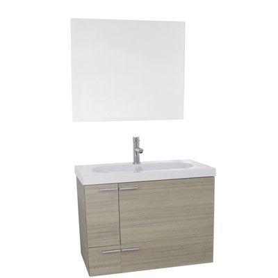 "NAMV New Space 31"" Single Bathroom Vanity Set with Mirror Base Finish: Larch Canapa"
