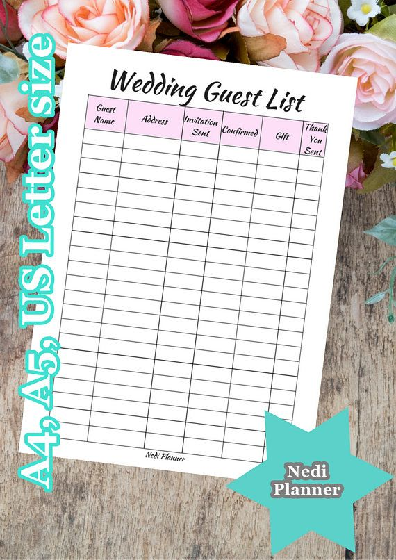 A A Us Letter Size Wedding Guest List Wedding Planner