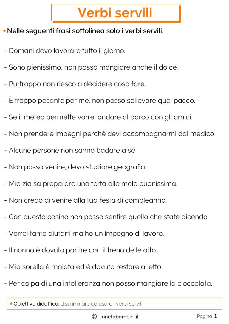 Verbi Servili Esercizi Per La Scuola Primaria Italiano School E