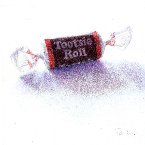 Tootsie Roll Original Drawing Chocolate Candy Drawing