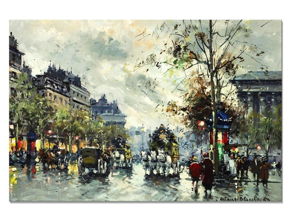 Impressionism Paris Cityscape Person Canvas Painting Tree Wall