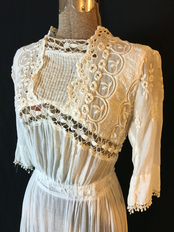 Vintage white edwardian victorian cotton lace wedding dress small