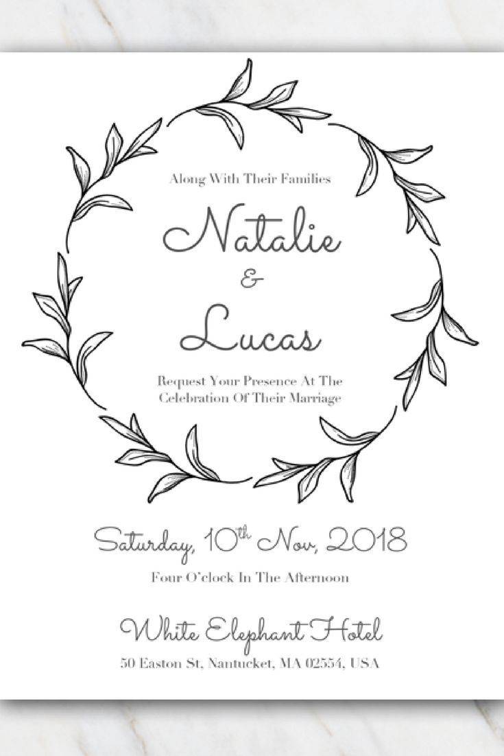 Black & white leaves wedding invitation template. Download for FREE ...