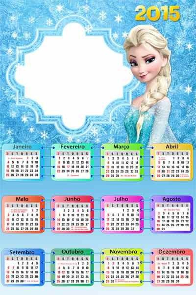 Diy Elsa Frozen Printable 2015 New Year Monthly Calendar Templates