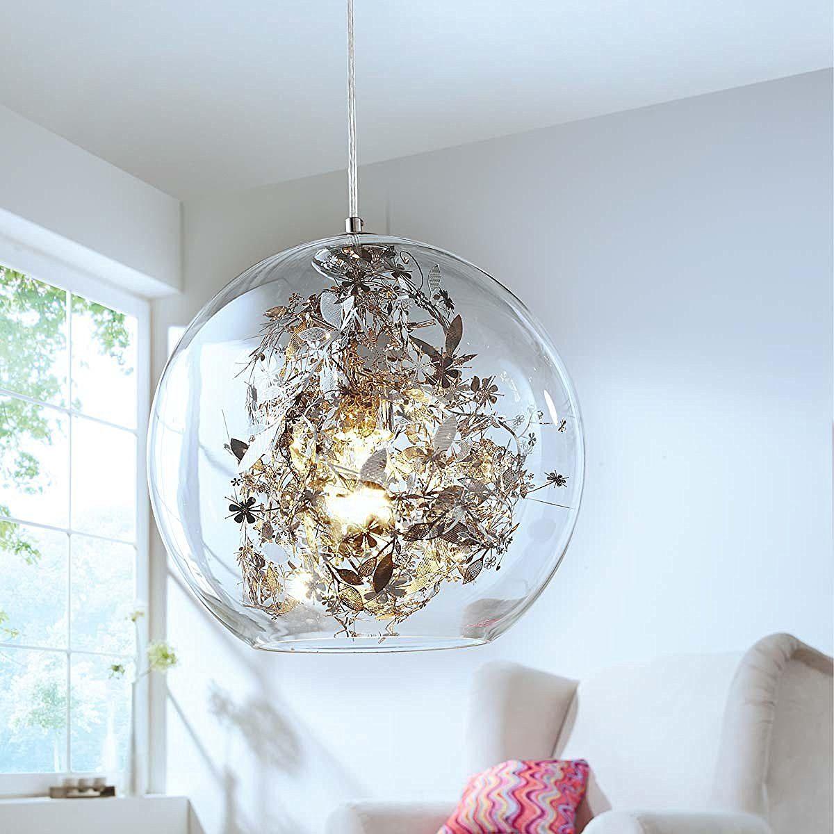 Design Deckenleuchte St. Barth Metall Glasschirm Chrom 1x E27 max ...