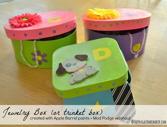 Jewelry box or trinket box {Kids craft with Plaid crafts} - created with Apple Barrel paints and Mod Podge washout