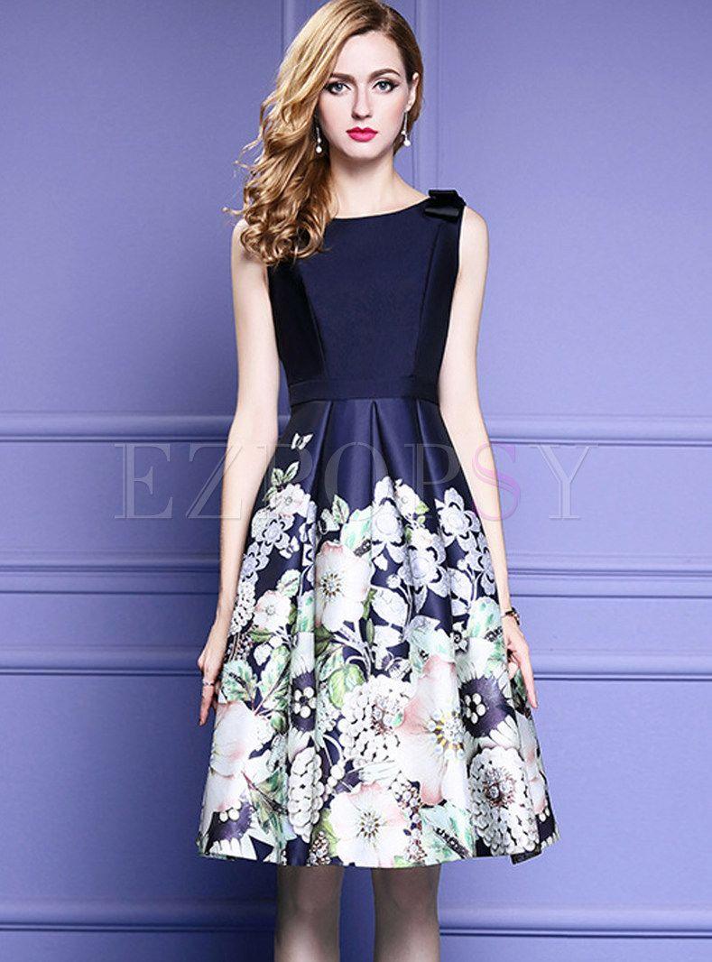 Party Print Splicing Bowknot Sleeveless Slim Skater Dress | Dress ...
