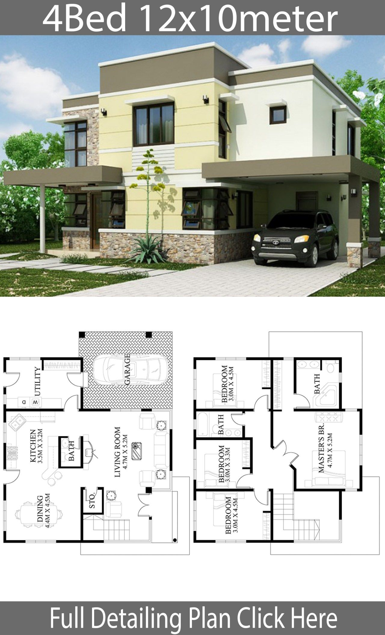 Home Design Plan 12x10m With 4 Bedrooms Home Ideas Architectural House Plans Modern House Plans Model House Plan