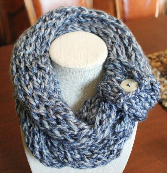 Denim Blue Finger Knit Scarf with Button Cuff by StudioHarmony ...