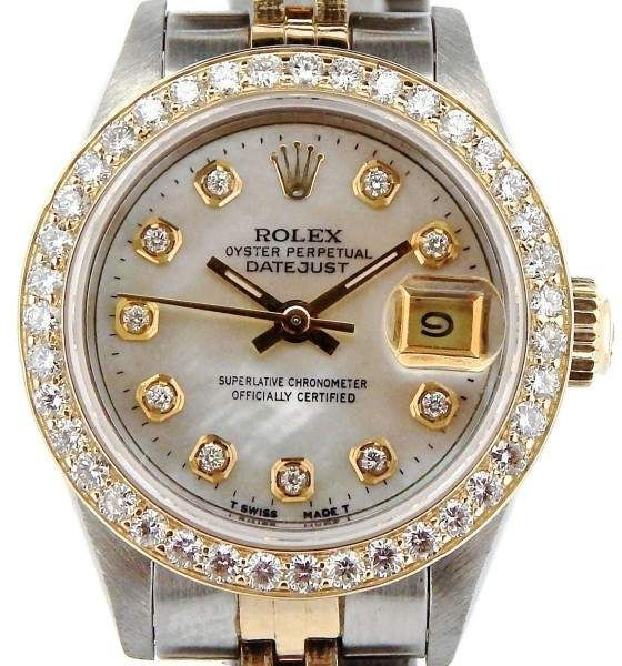 efdc02035097b Rolex Datejust 69173 18K Yellow Gold   Stainless Steel Mother Of Pearl  Diamond Dial   Bezel
