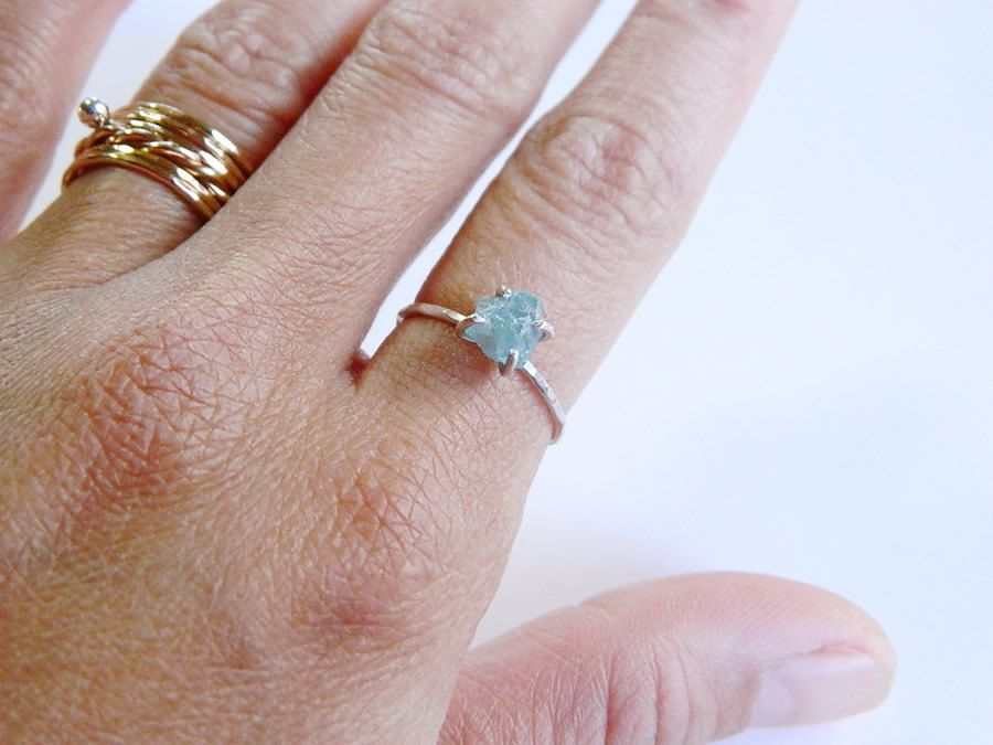 Blue Apatite ring rough stone ring skinny silver by designbygam