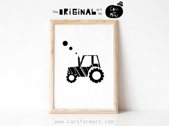 Tractor Print Black White Nursery Printable Minimalist Nursery Inspiration Tractor Themed Bedroom Minimalist
