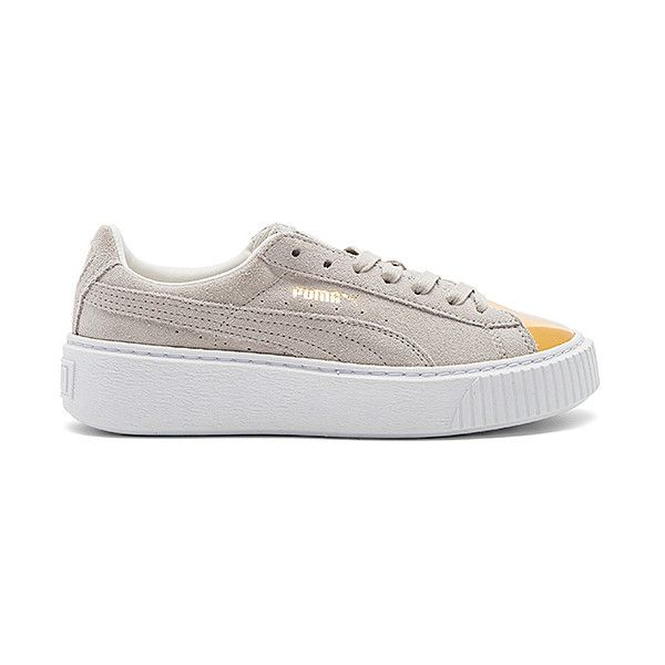 Puma Suede Platform Sneaker ($100) ❤ liked on Polyvore featuring shoes, sneakers, suede lace up shoes, rubber sole shoes, cap toe shoes, cap toe sneakers and suede shoes