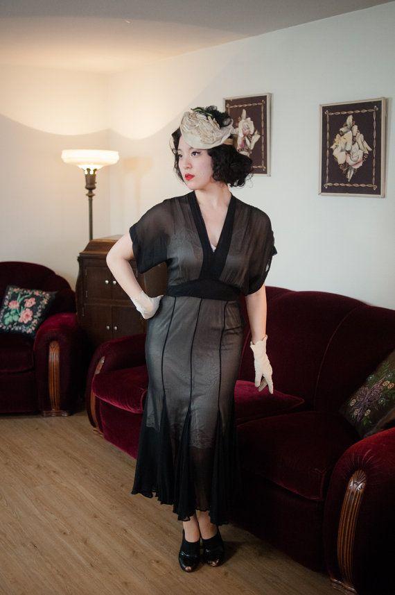 Vintage 1930s Dress - Sheer Black Silk Chiffon 30s Dress ...