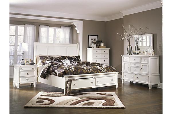 White Bedroom Set With Storage In Footboard Sleigh Bedroom Set