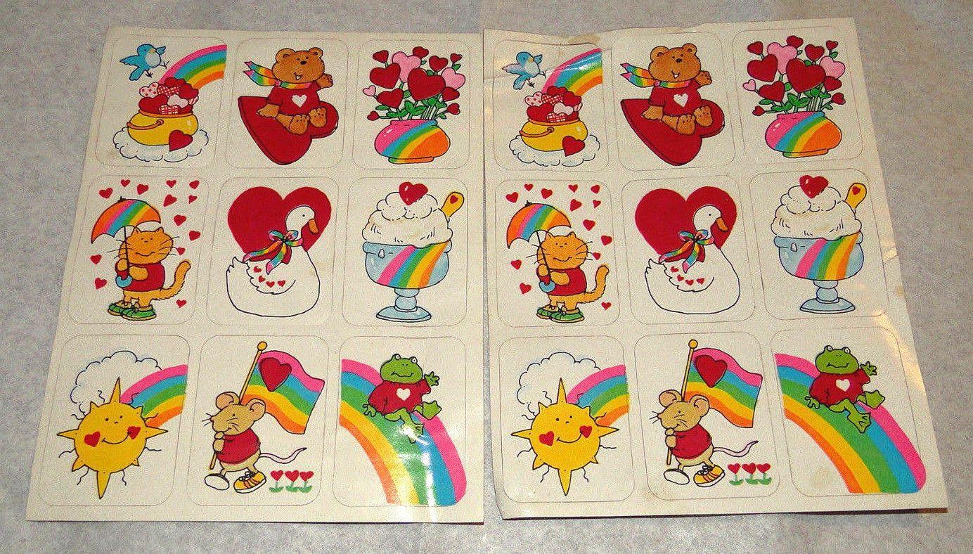 Vintage Stickers Sheet Fasson 70s 80s Groovy Design Rainbow Heart Love Animals Rainbow Heart Sticker Sheets Sticker Collection