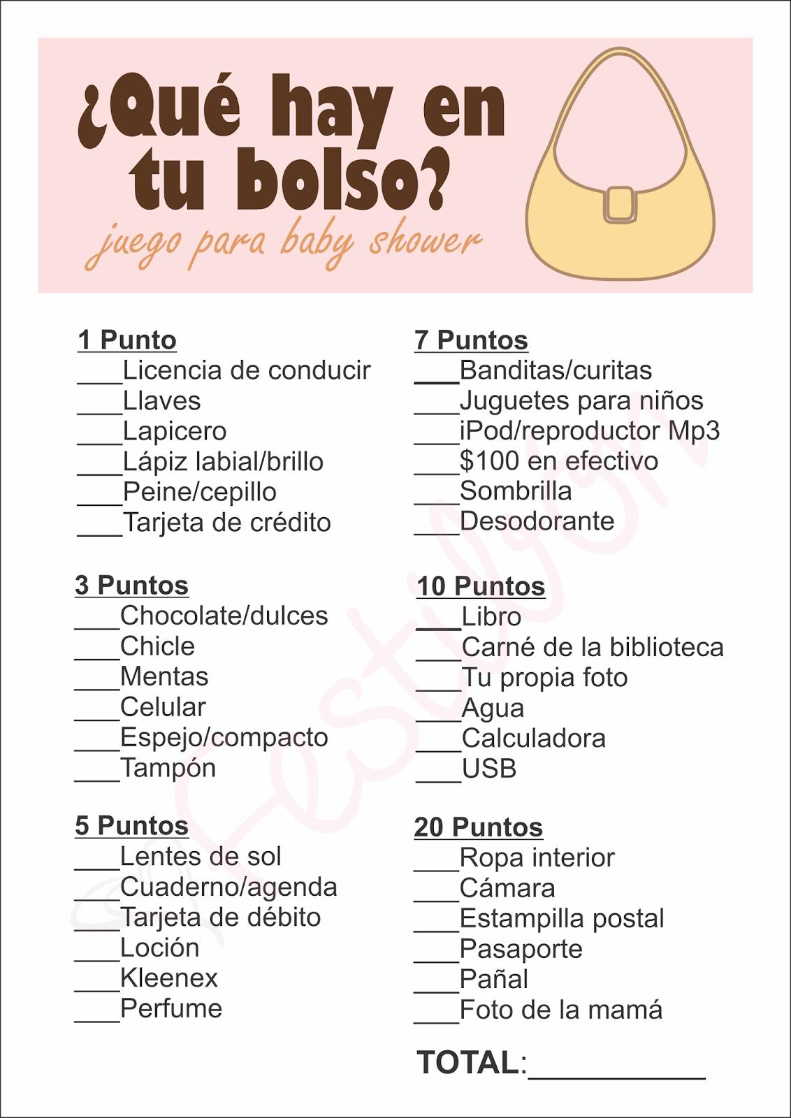 Que Hay En Tu Bolso Juegos Para Baby Shower Para Imprimir