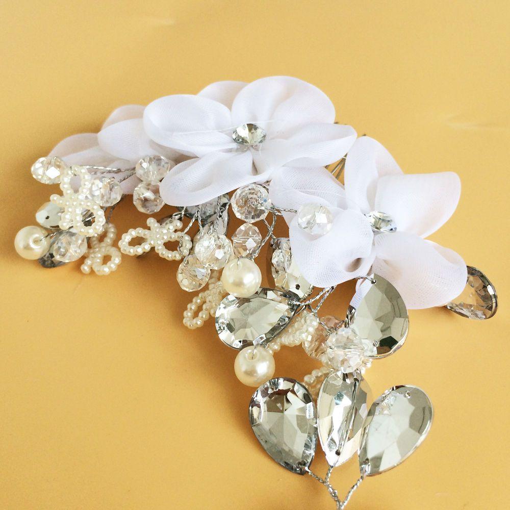 Rhinestone Pearl Flower Wedding Bridal Headband Hair Band Clip Tiara Accessories