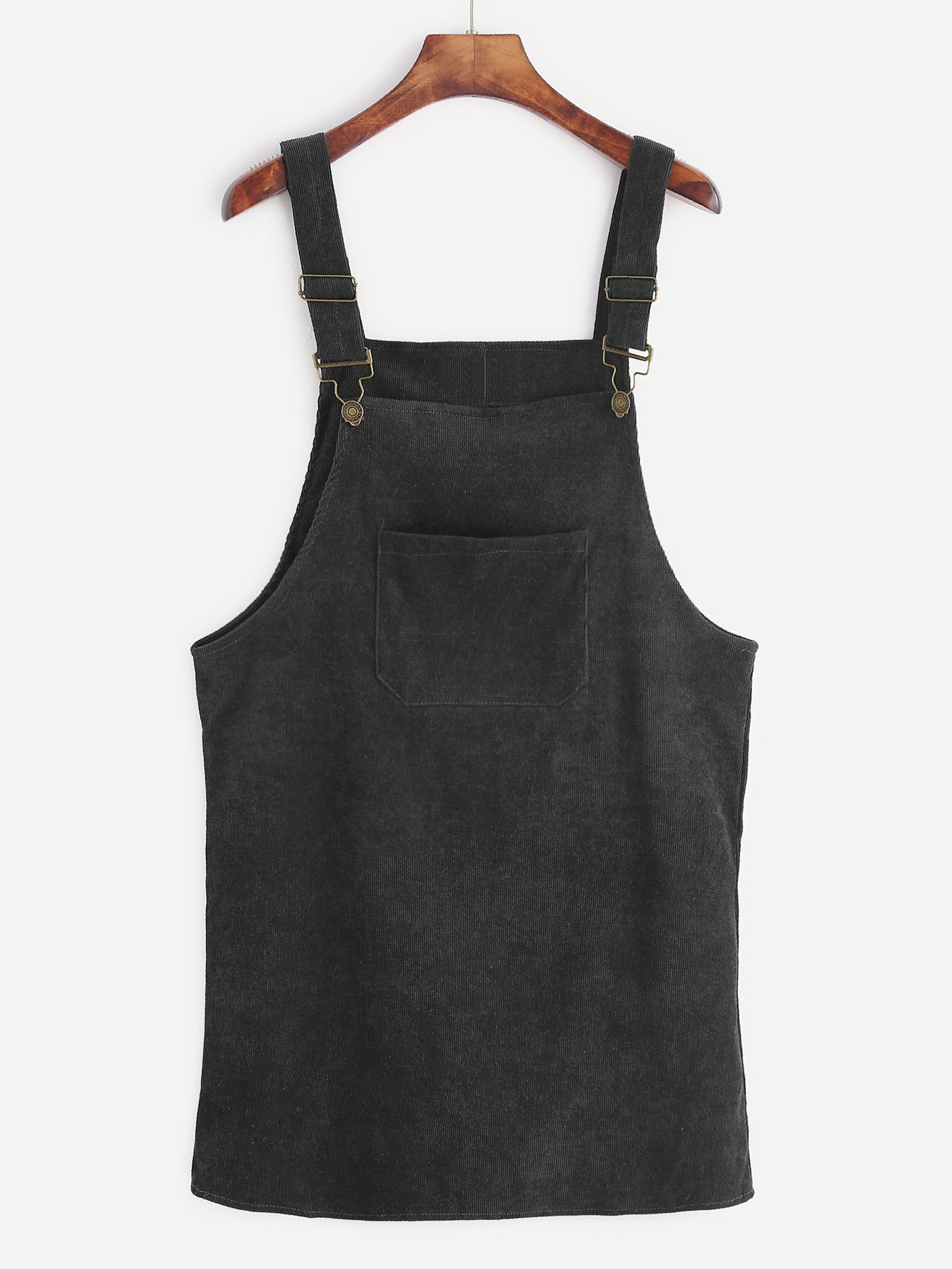 e4f8592445 Shop Black Corduroy Overall Dress With Pocket online. SheIn offers Black  Corduroy Overall Dress With Pocket   more to fit your fashionable needs.
