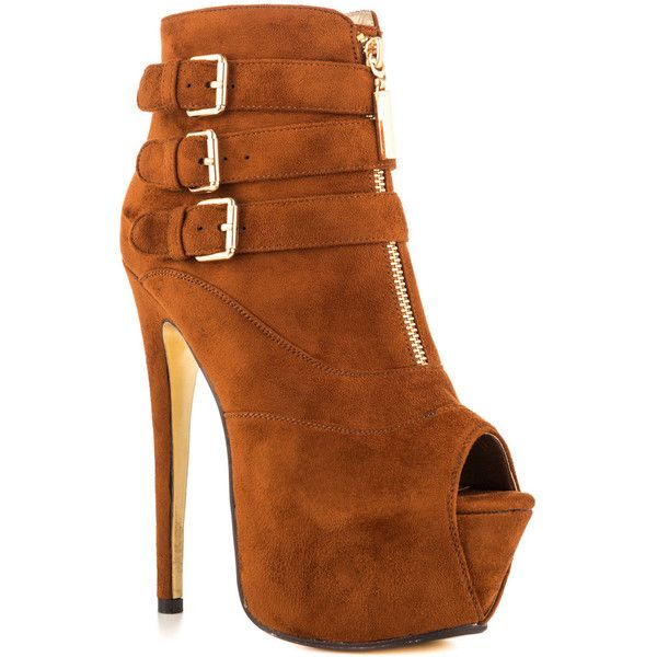 Luichiny Women's Hi N Low - Whisky (€73) ❤ liked on Polyvore featuring shoes, boots, ankle booties, shoes - ankle boots & booties, brown ankle booties, brown ankle boots, platform ankle boots, platform booties and short brown boots