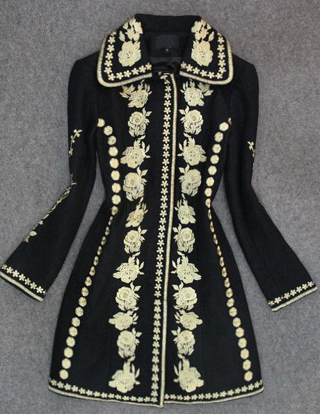 It is getting cool and cold, this beautiful black embroidered wool ...