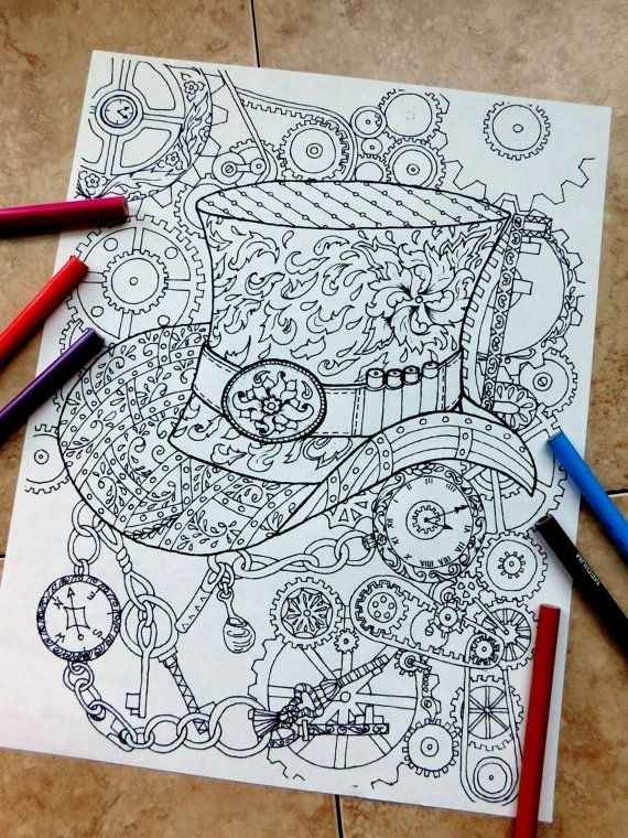 Steampunk Coloring Page Coloring Pages Top Hat Coloring Page
