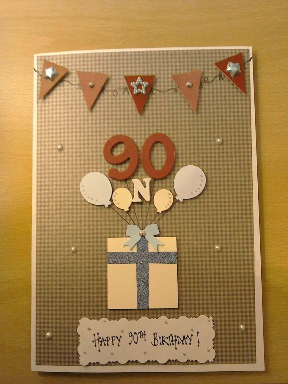 Handmade Male 90th Birthday Card