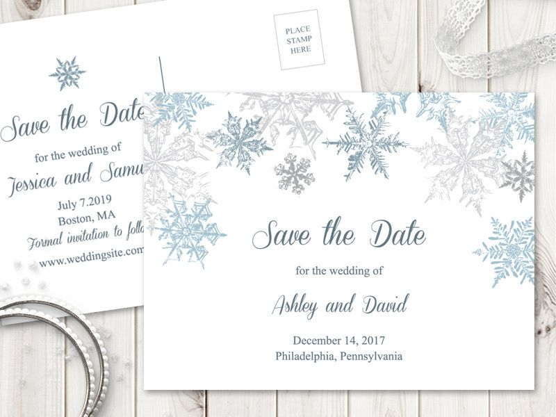Winter Wedding Save The Date Postcard Template Snowflakes Silver