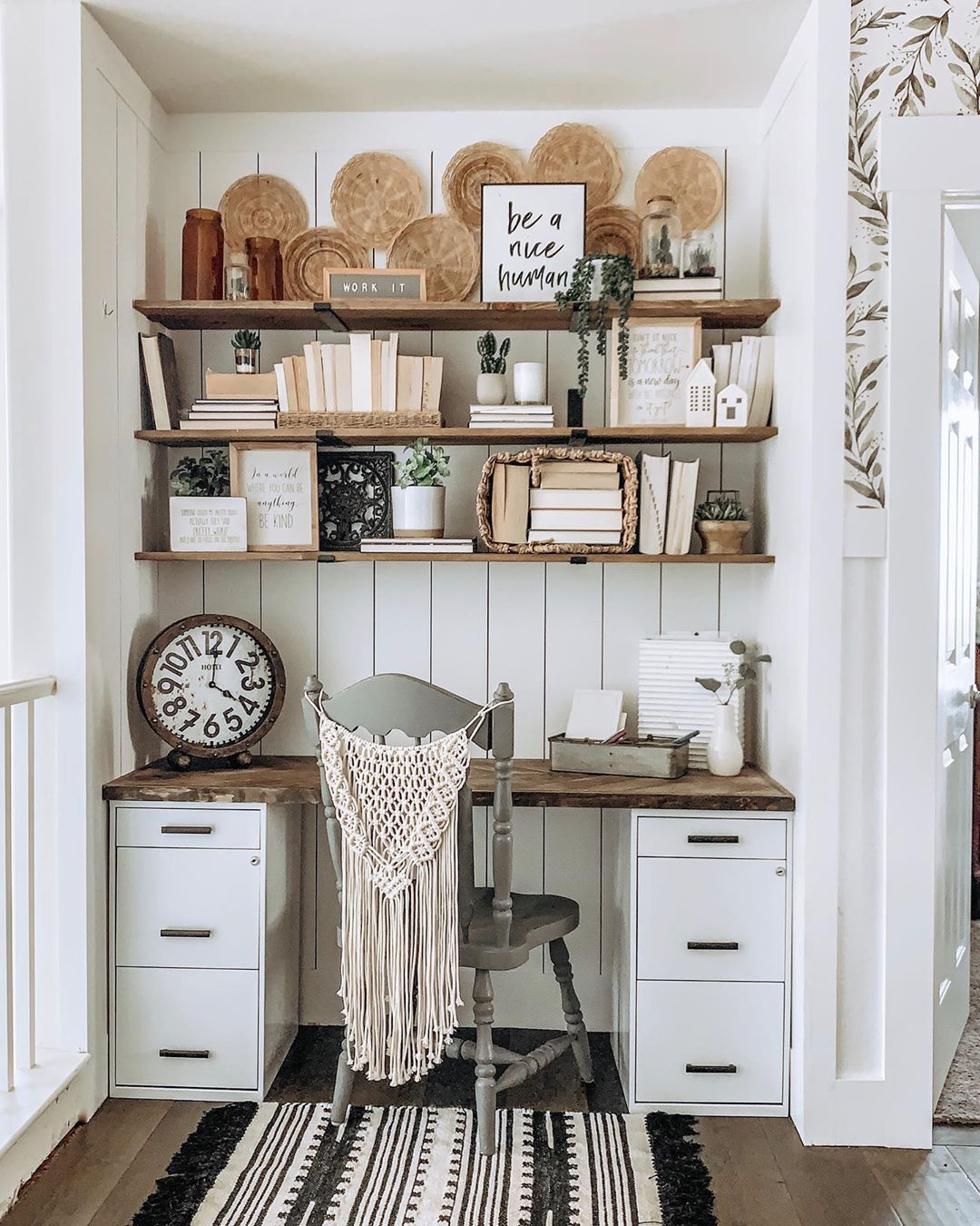 Boho Farmhouse Office Space. Small Office Space. Office