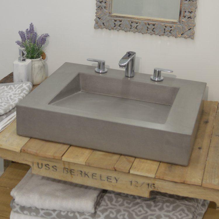 Ramp Concrete Rectangular Vessel Bathroom Sink Bathroom Sink