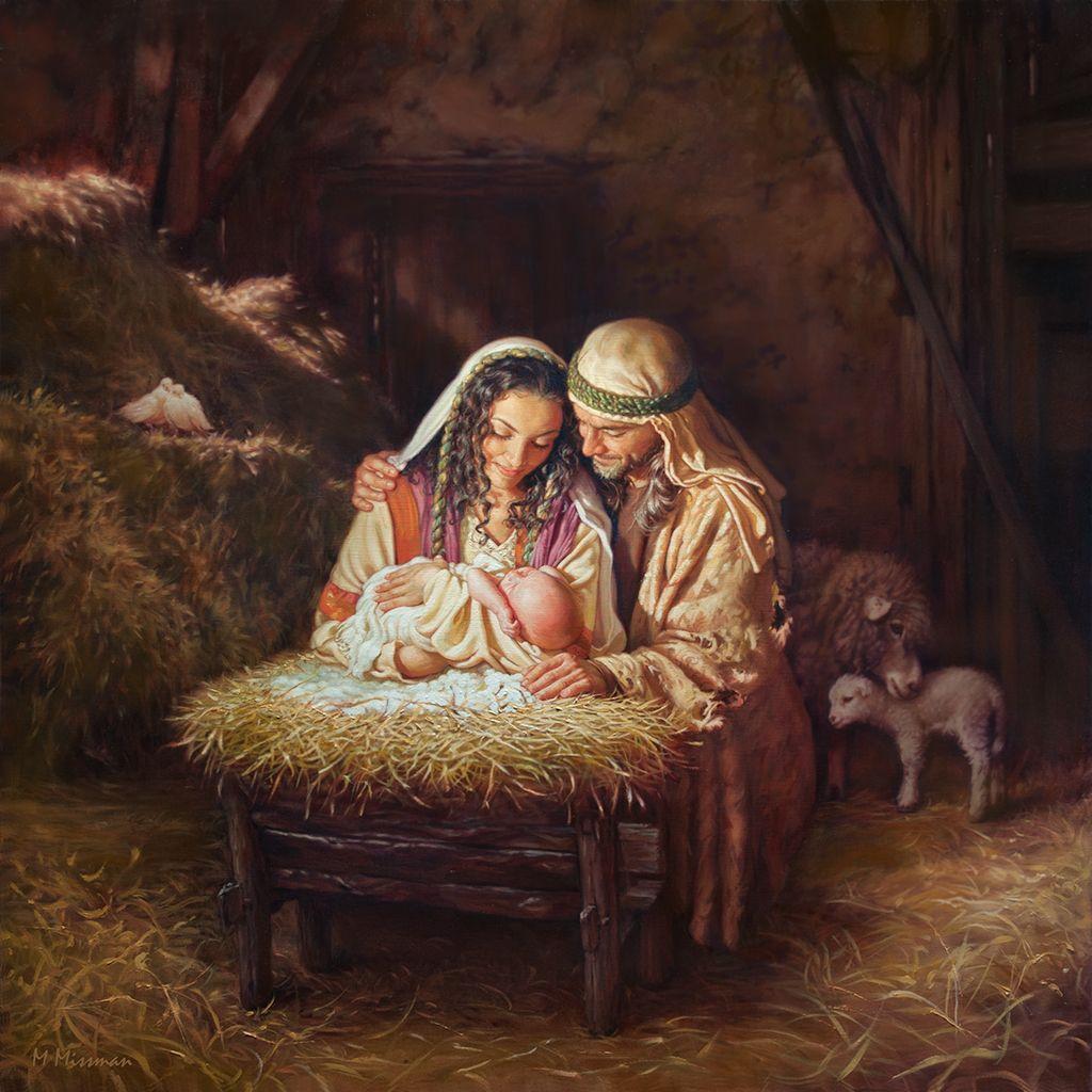 Holy Family Admires Jesus Nativity Religious Christmas: Light Of Love - Mark Missman
