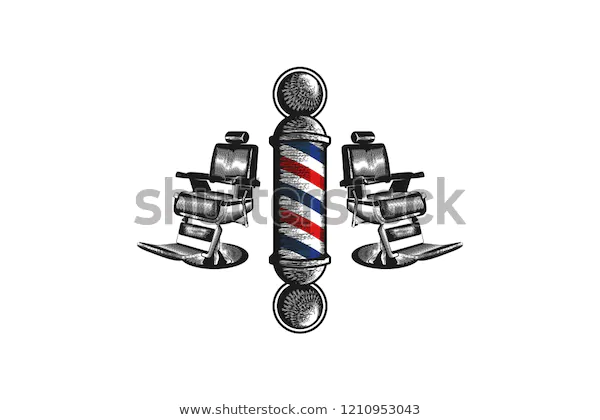 Hand Drawn Barber Pole Chair Logo Stock Vector Royalty Free 1210953043 In 2020 Chairs Logo Barber Logo How To Draw Hands