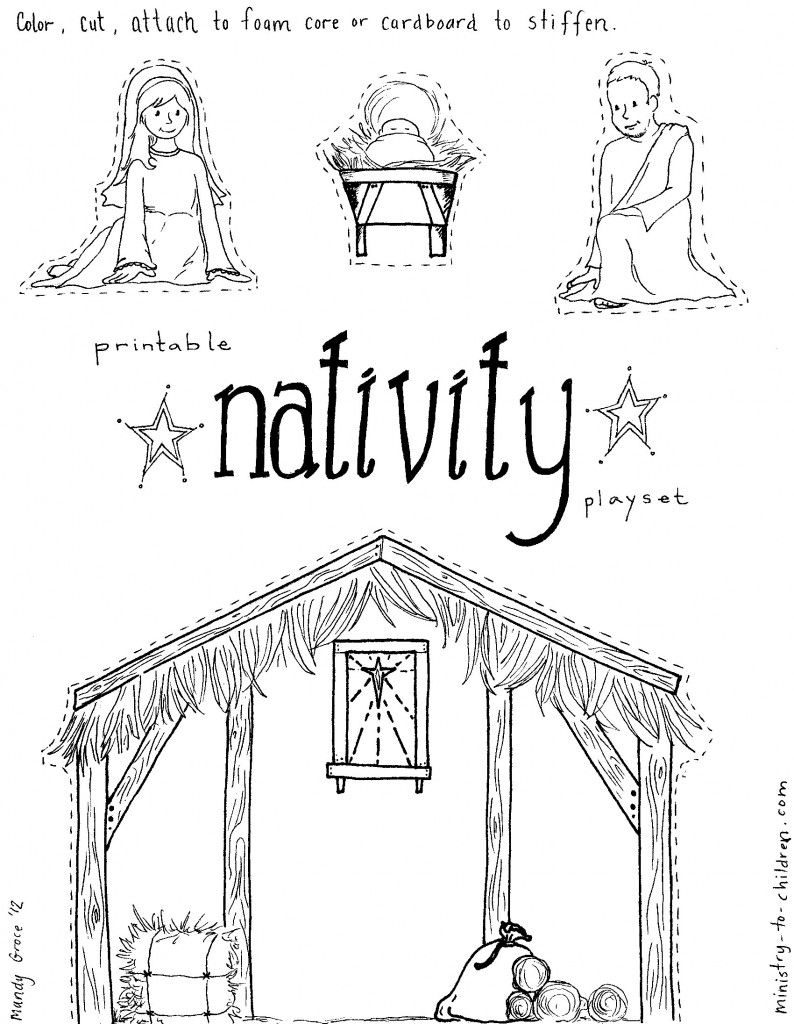 "Jesus in the Manger"" Coloring Pages – Nativity Playset Craft ..."