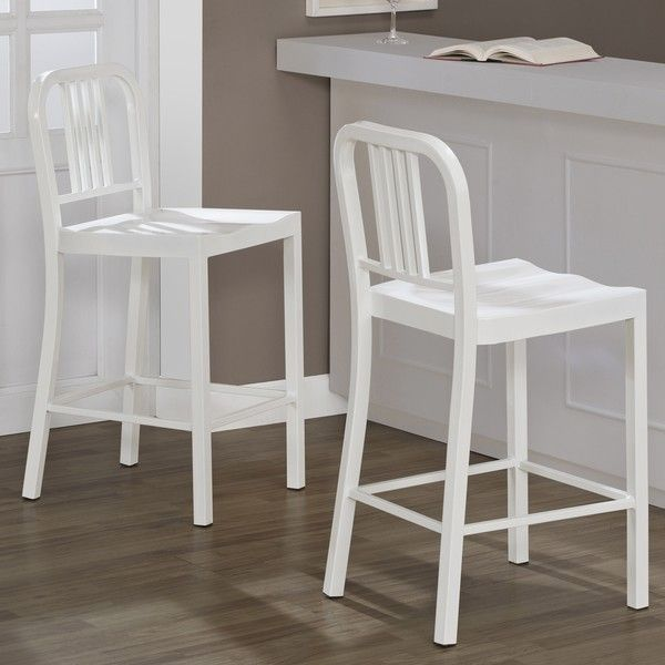 White Metal Counter Stools Set Of 2 Ping Great Deals On Bar