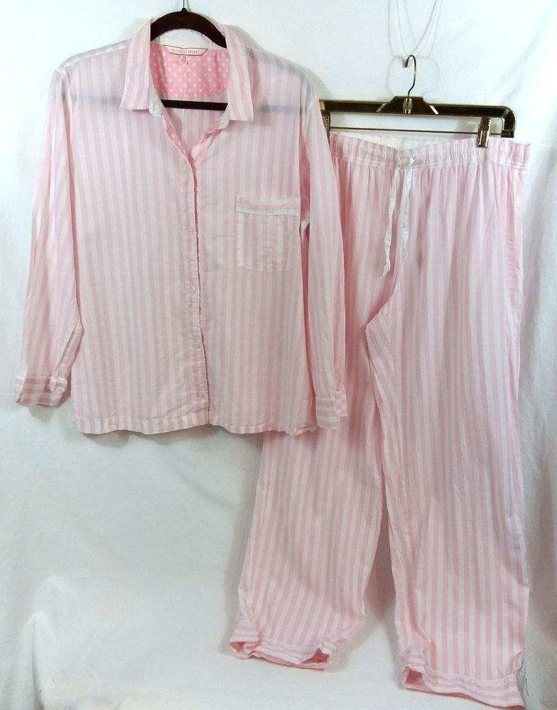 bab2865c6f07a Victorias Secret Iconic Stripe Pajamas Set Large Pink White Top ...
