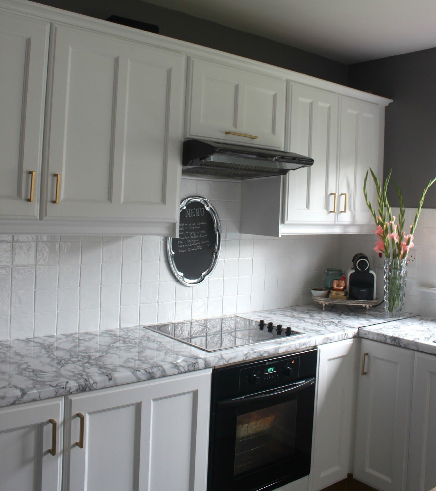 Replacing Kitchen Cabinets On A Budget: Diy Super Cheap, Easy Marble Look Counters Done With