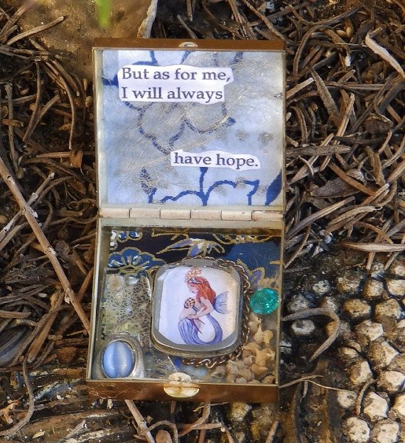 Mermaid Vintage Compact Spiritual Pocket Shrine  by EMCorsaArtShop