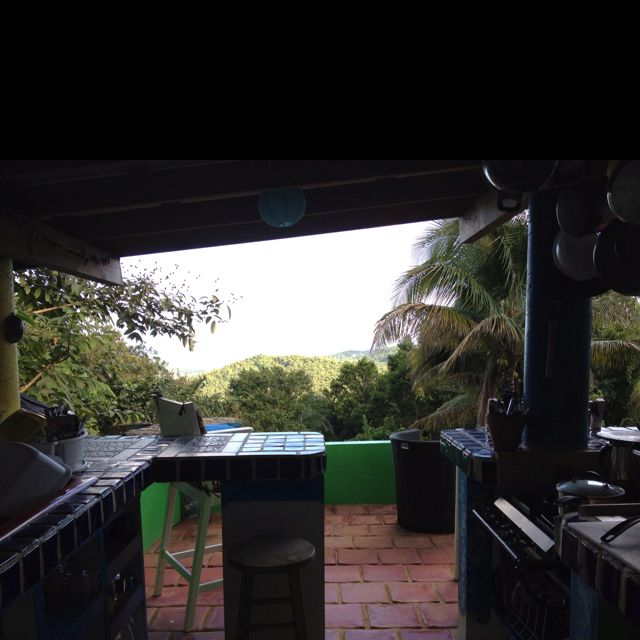 Outdoor kitchen overlooking the Rainforest, Luquillo