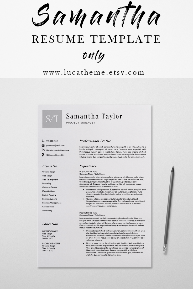 Resume Template Cover Letter Creative CV Templates