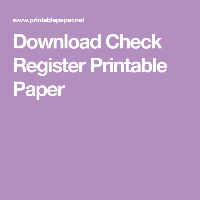 download check register printable paper computer and other
