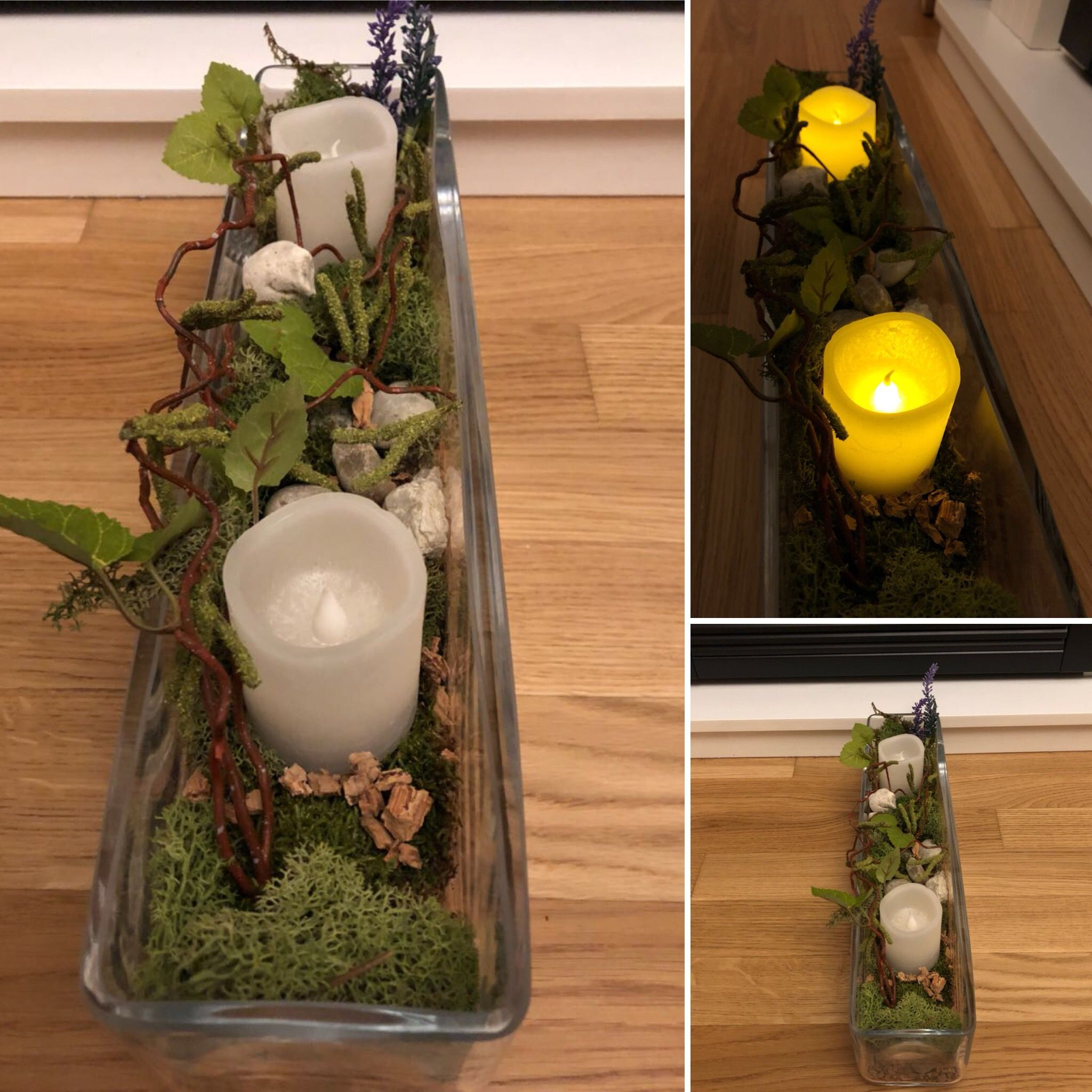 Dekoschale Decorative Glass With Candles And Moss And Wood Pieces. Wood  Stone Glass Decoration Candle