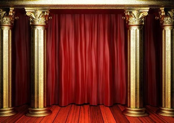 Golden pillar and red curtain backdrop for stage in 2019 ...