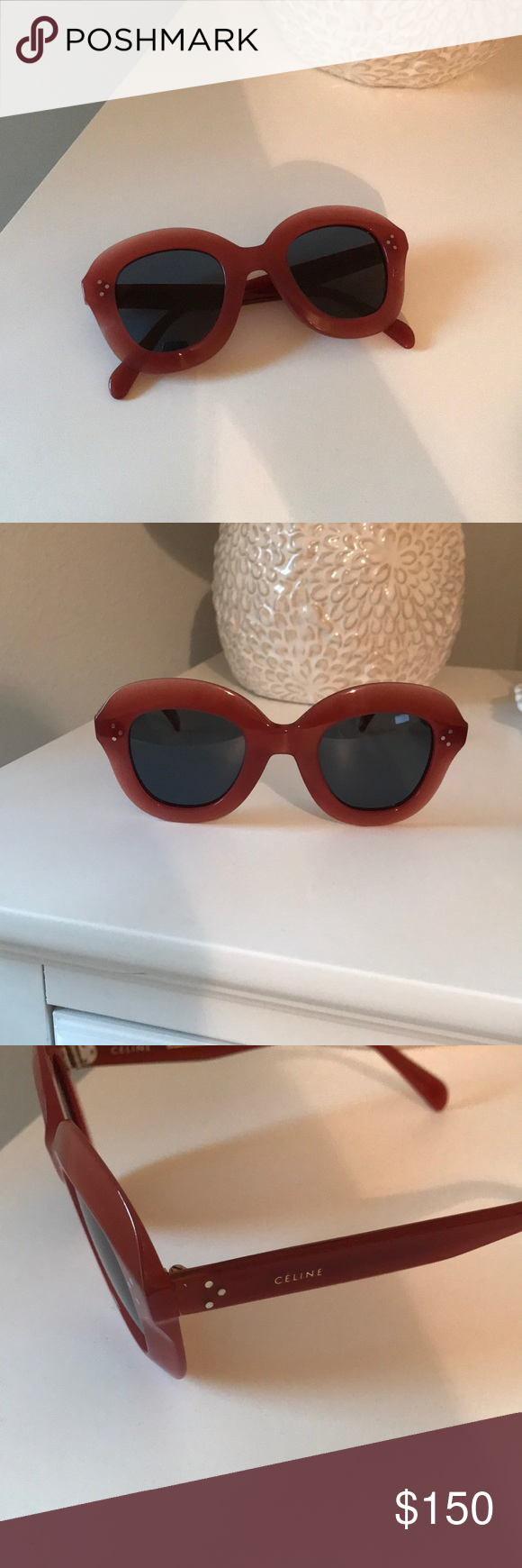 dc9d1fa94c565 Celine Lola round sunglasses - pink acetate Celine Lola round sunglasses in  pink acetate (CL 41445 S) - comes with case - only wore once! Celine  Accessories ...