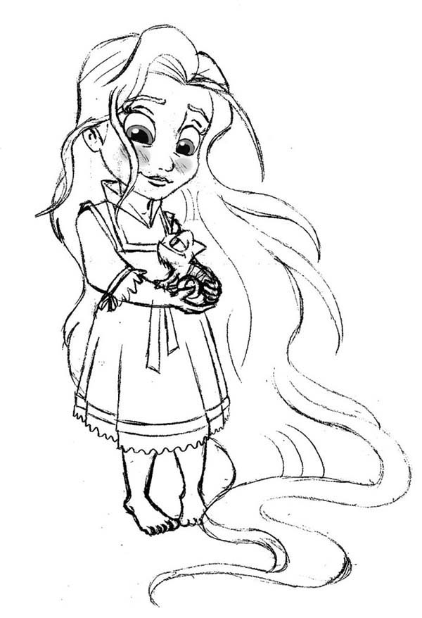 Little Rapunzel Coloring Page Kids Play Color In 2020 Disney Princess Coloring Pages Tangled Coloring Pages Disney Princess Colors