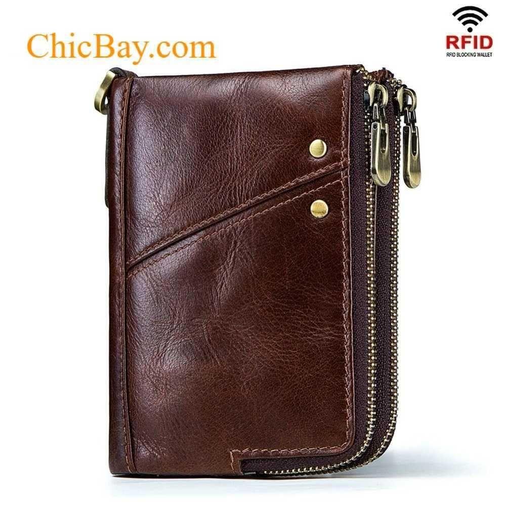 Zip around Bi-fold Brown 100/% Genuine Leather Wallet