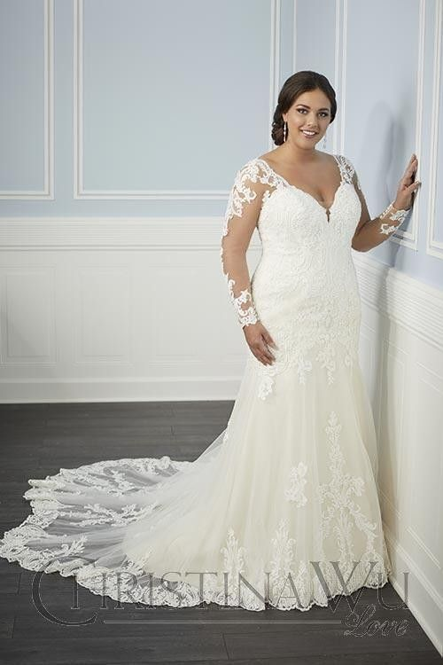 Christina Wu 29342 Illusion Long Sleeve Plus Size Bridal Dress